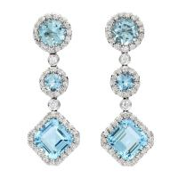 Favero Aquamarine and Diamond Dangle Earrings at 1stdibs