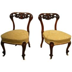 Replacement Chair Spindles Uk Bistro Dining Table And 4 Chairs Beautiful Pair Of Small Walnut Victorian Period Nursing