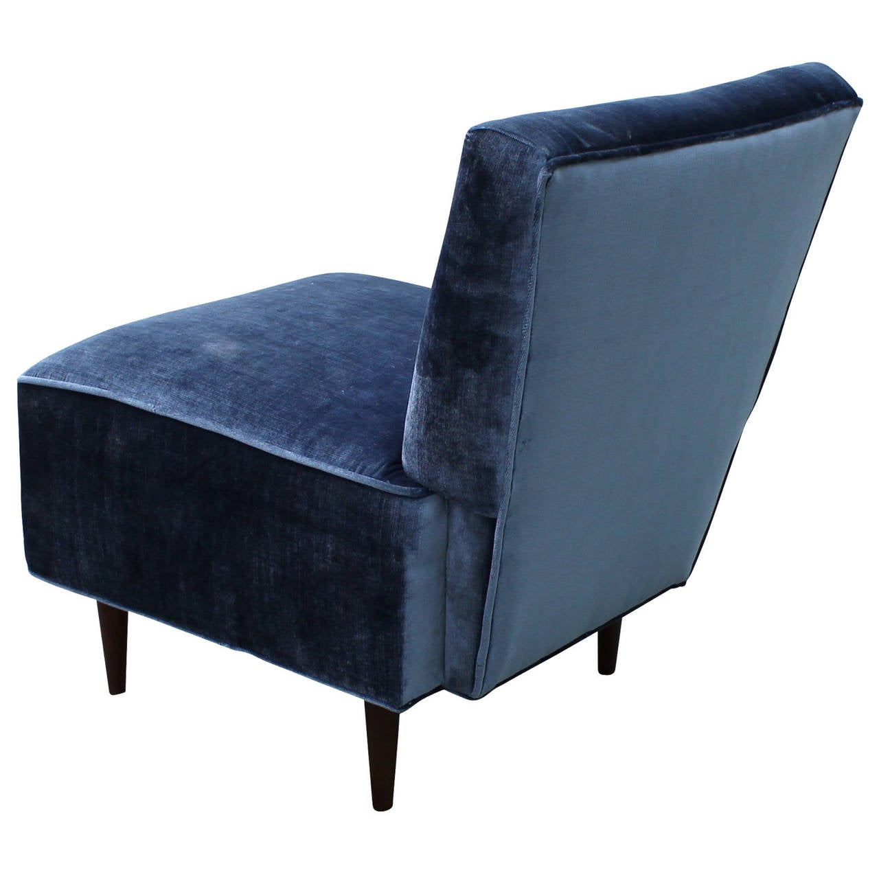 Velvet Slipper Chair Blue Slipper Chair