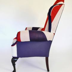 Queen Anne Wing Chair Recliner Thomas And Friends Table Chairs Union Jack Upholstered Back At 1stdibs