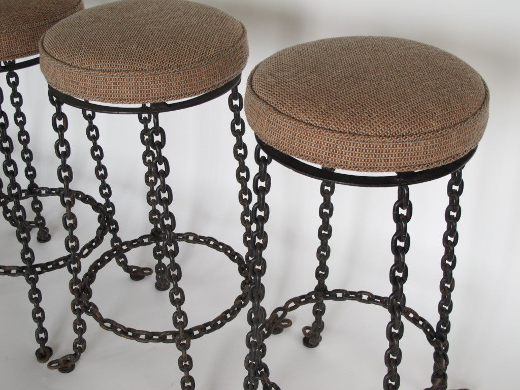 seng chicago chair jazzy accessories a set of four wrought iron chain link barstools at 1stdibs