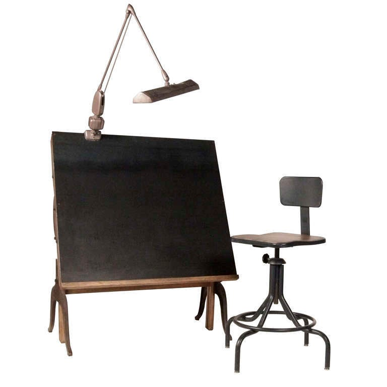Vintage Drafting Table and Chairs at 1stdibs