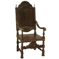 Spanish Leather Throne Chair, circa 1860