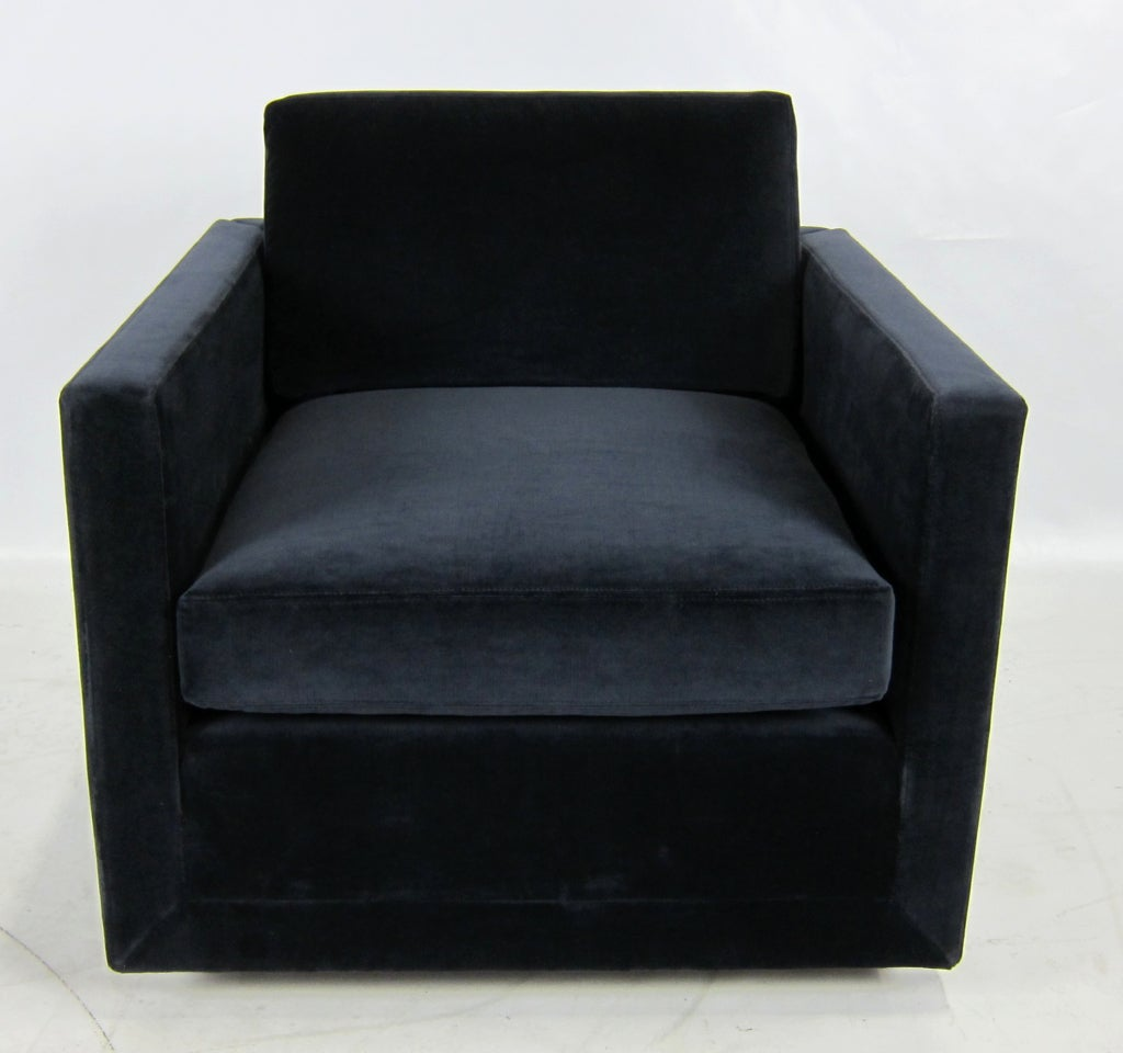 Navy Club Chair Pair Of Navy Blue Velvet Floating Cube Lounge Chairs At