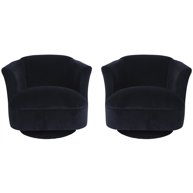 navy blue velvet club chair leather ottoman pair of swivel chairs at 1stdibs