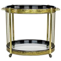 Bernhard Rohne Etched Brass Oval Bar Cart By Mastercraft ...