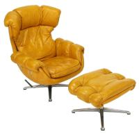 Overman Egg Form Swiveling Lounge Chair and Ottoman at 1stdibs