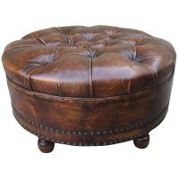 Leather Tufted Round Ottoman at 1stdibs