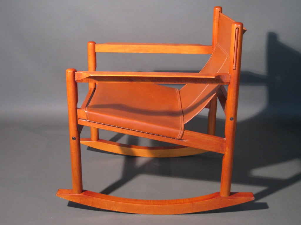 rocking chair leather and wood shower chairs target scandinavian c 1970s at 1stdibs