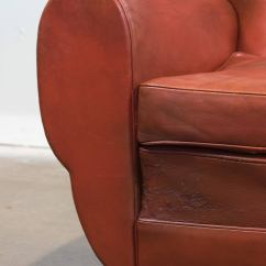 Red Club Chair Lightweight Folding Superb French Vintage Leather At 1stdibs