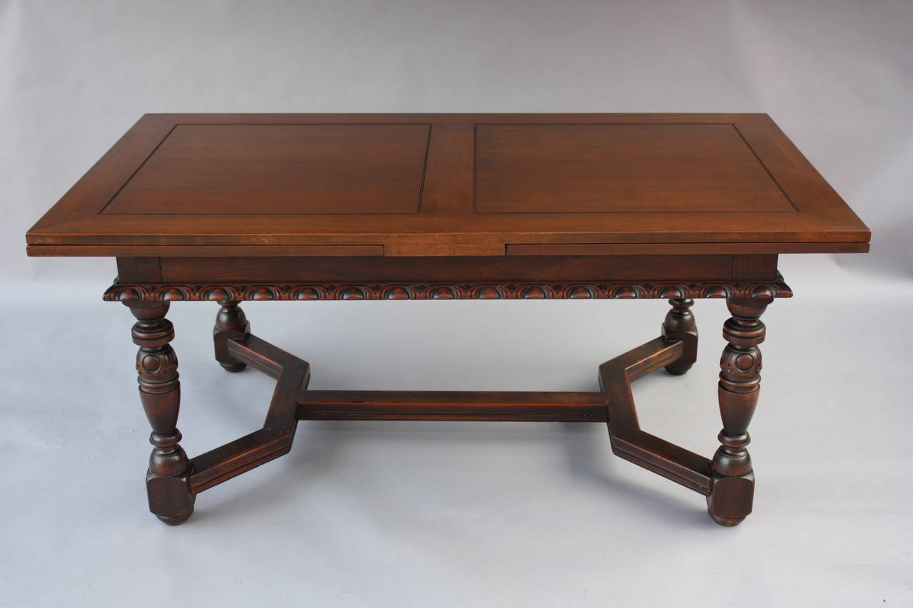 Expendable 1920s Walnut Table Signed Kittinger at 1stdibs