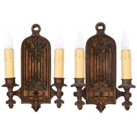 Antique Tudor Style Double Sconces at 1stdibs