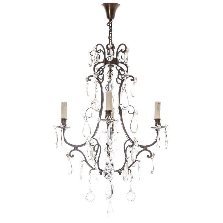French 19th Century 4 Light Iron and Crystal Chandelier at