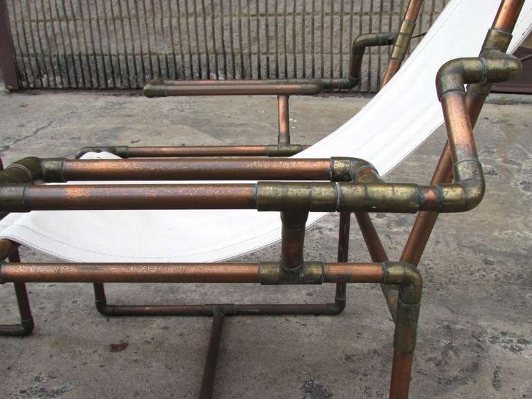 Copper Pipe Chair and Ottoman at 1stdibs