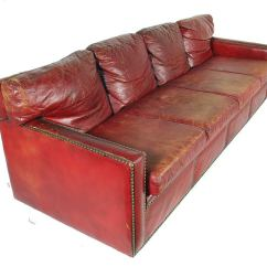 Leather Sofa Atlanta Ga Wood Bed Frame 1940's Oxblood Red With Brass Nailheads At ...