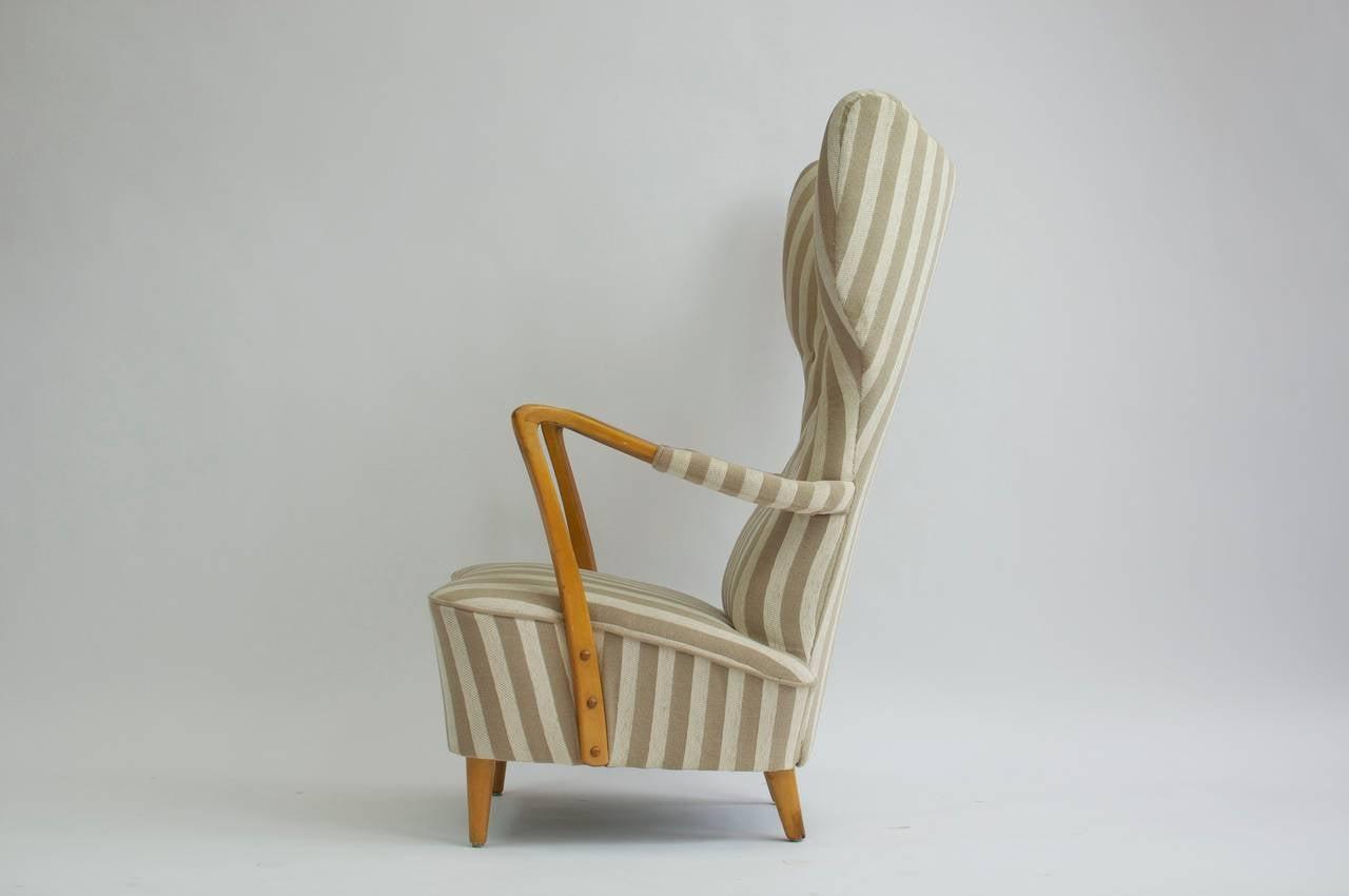 1950s High Back Swedish Lounge Chair and Ottoman at 1stdibs