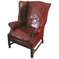 Leather Wingback Library Chair, Deep Caramel Color at 1stdibs