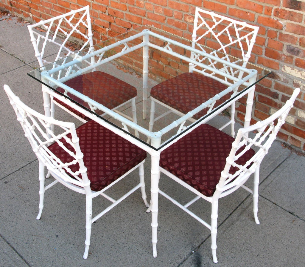 vintage wrought iron table and chairs office chair quotes cast bamboo dining at 1stdibs