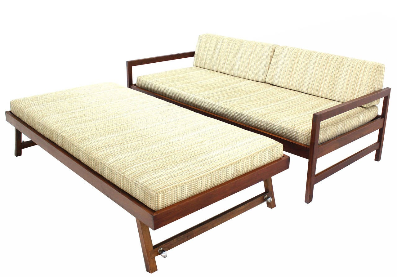 sofa pull out bed frame macy s milan leather solid walnut mid century modern trundle
