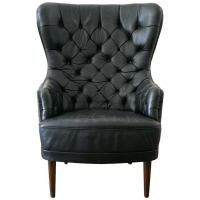 Tufted Leather High Back Chair , Denmark 1950