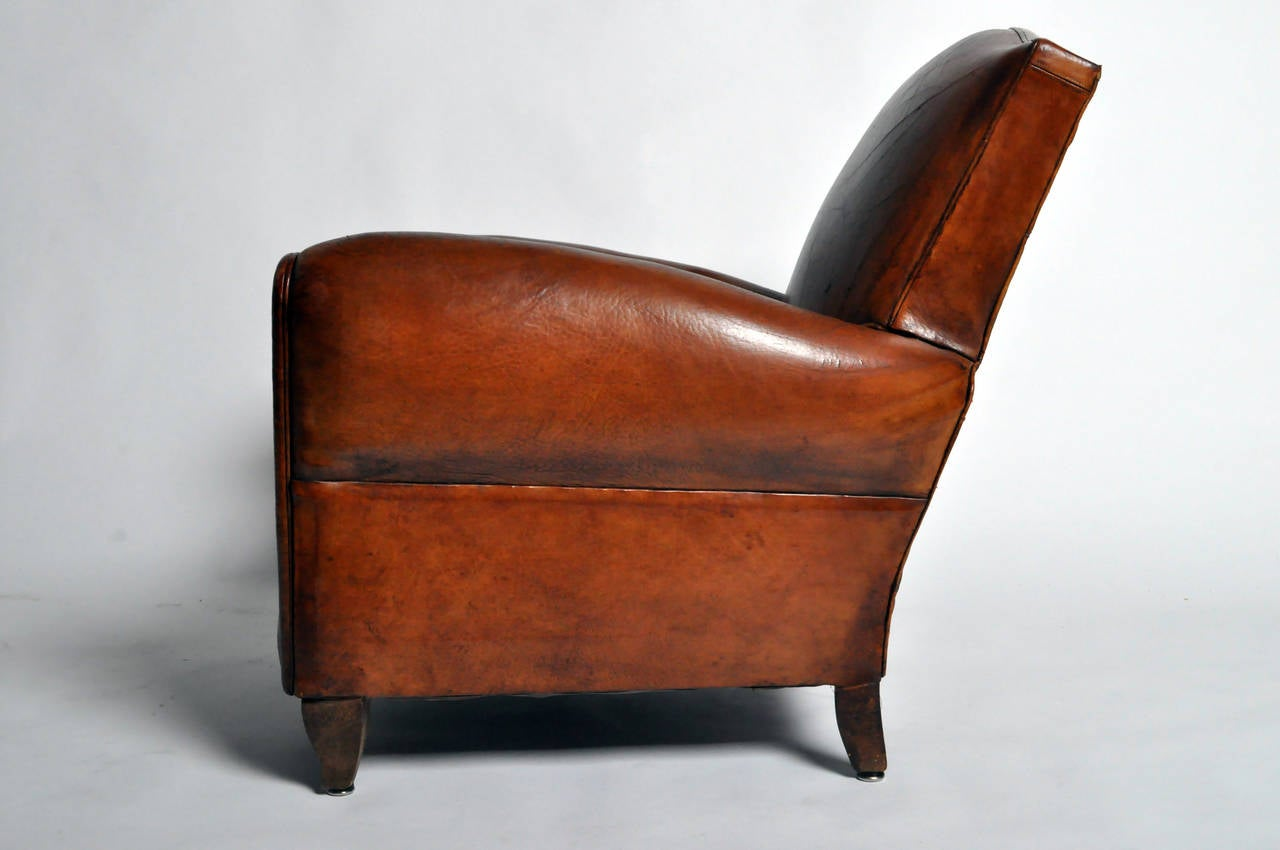 art deco club chairs leather set of two dining chair at 1stdibs