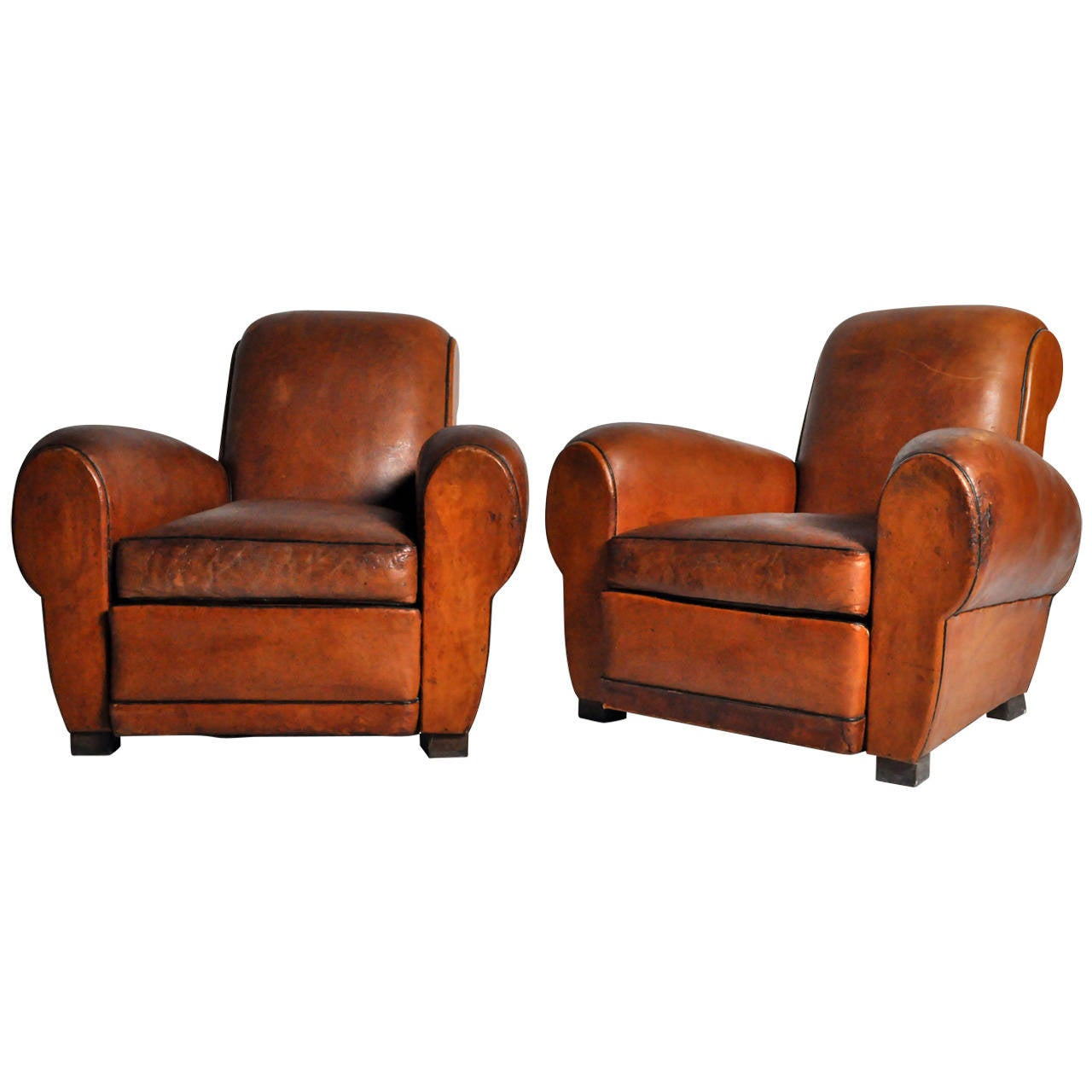 art deco club chairs leather rattan and table sets french at 1stdibs
