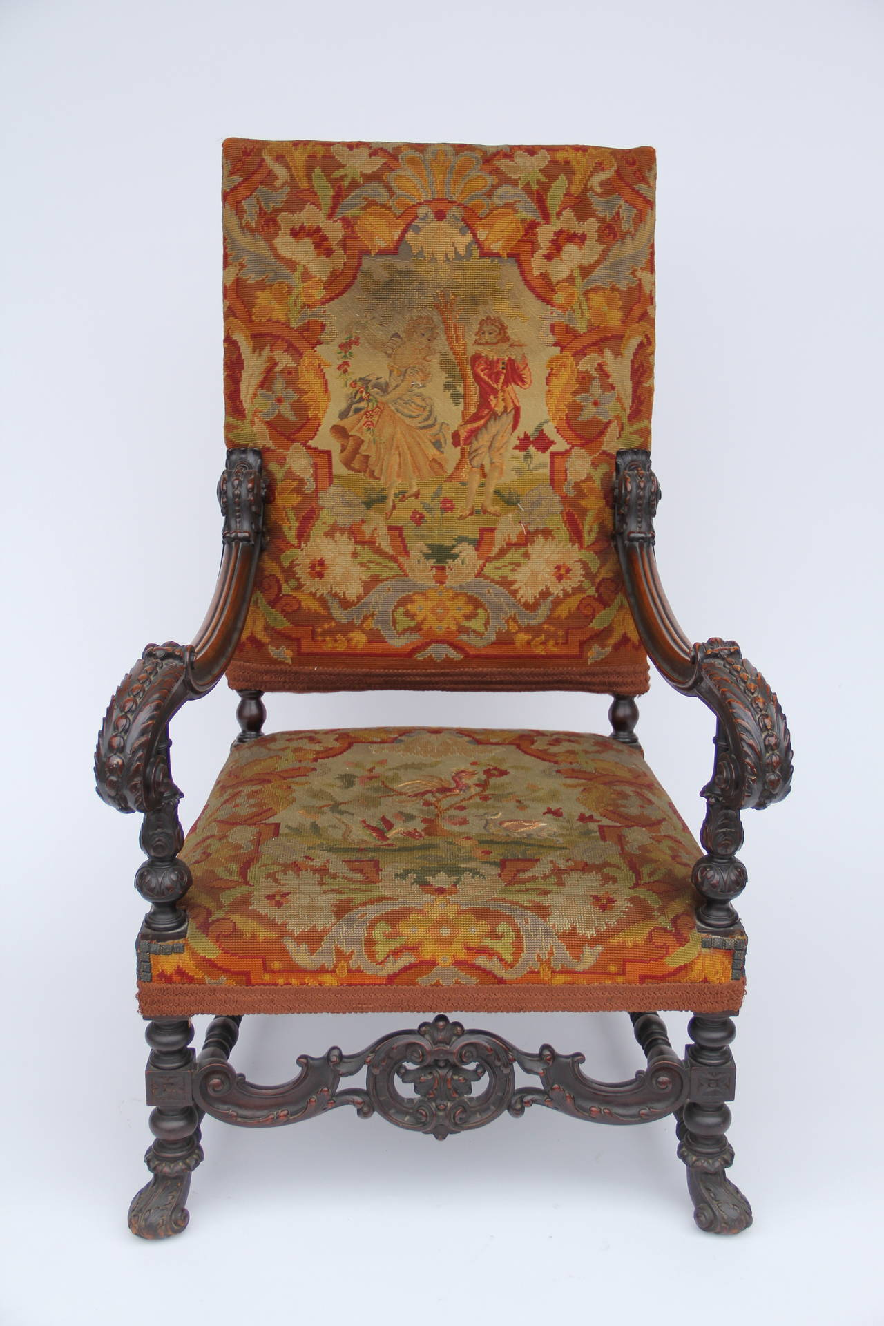 antique needlepoint chair w h gunlocke co 2 louis xiv style carved fauteuil high back armchair