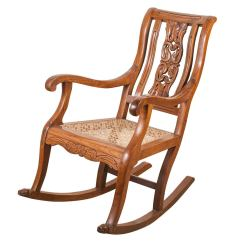 Rocking Chair Cane Lsu Folding Chairs Indo Portuguese Teak With Caned Seat At 1stdibs