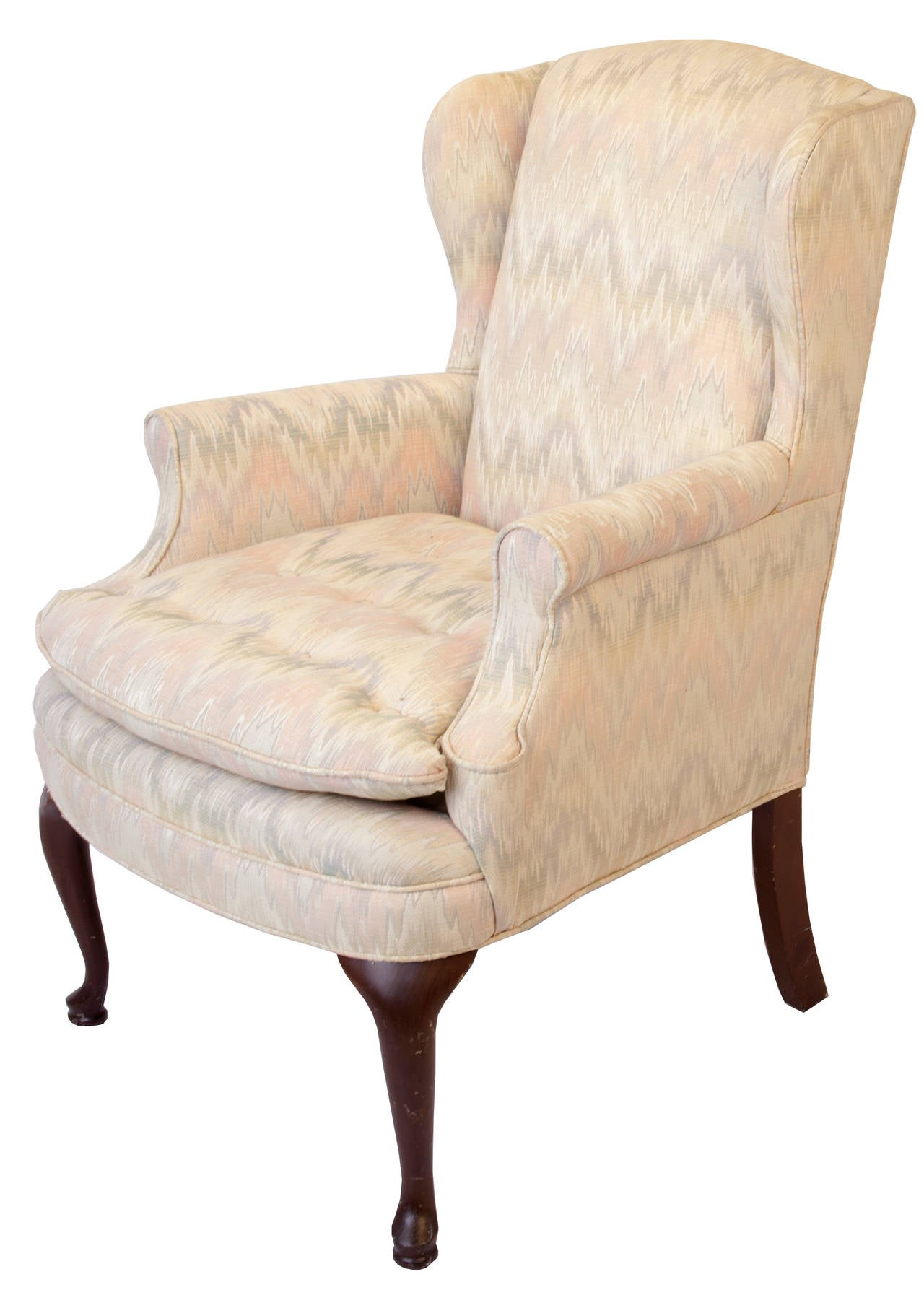 queen anne style chairs big joe bean bag chair filling upholstered wing at 1stdibs