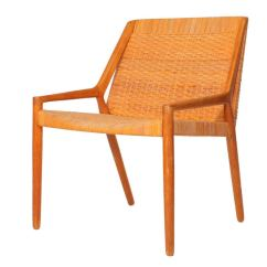 Cane Easy Chair Ergonomic Computer Oak And By Larsen Madsen At 1stdibs