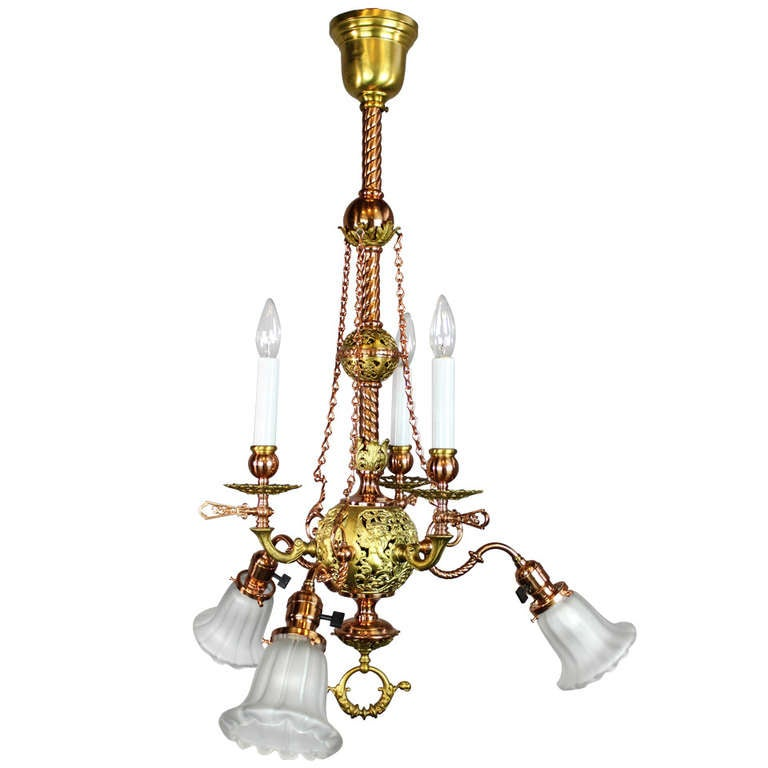 MCKENNY and CO. Combination Gas/Electric Light Fixture at