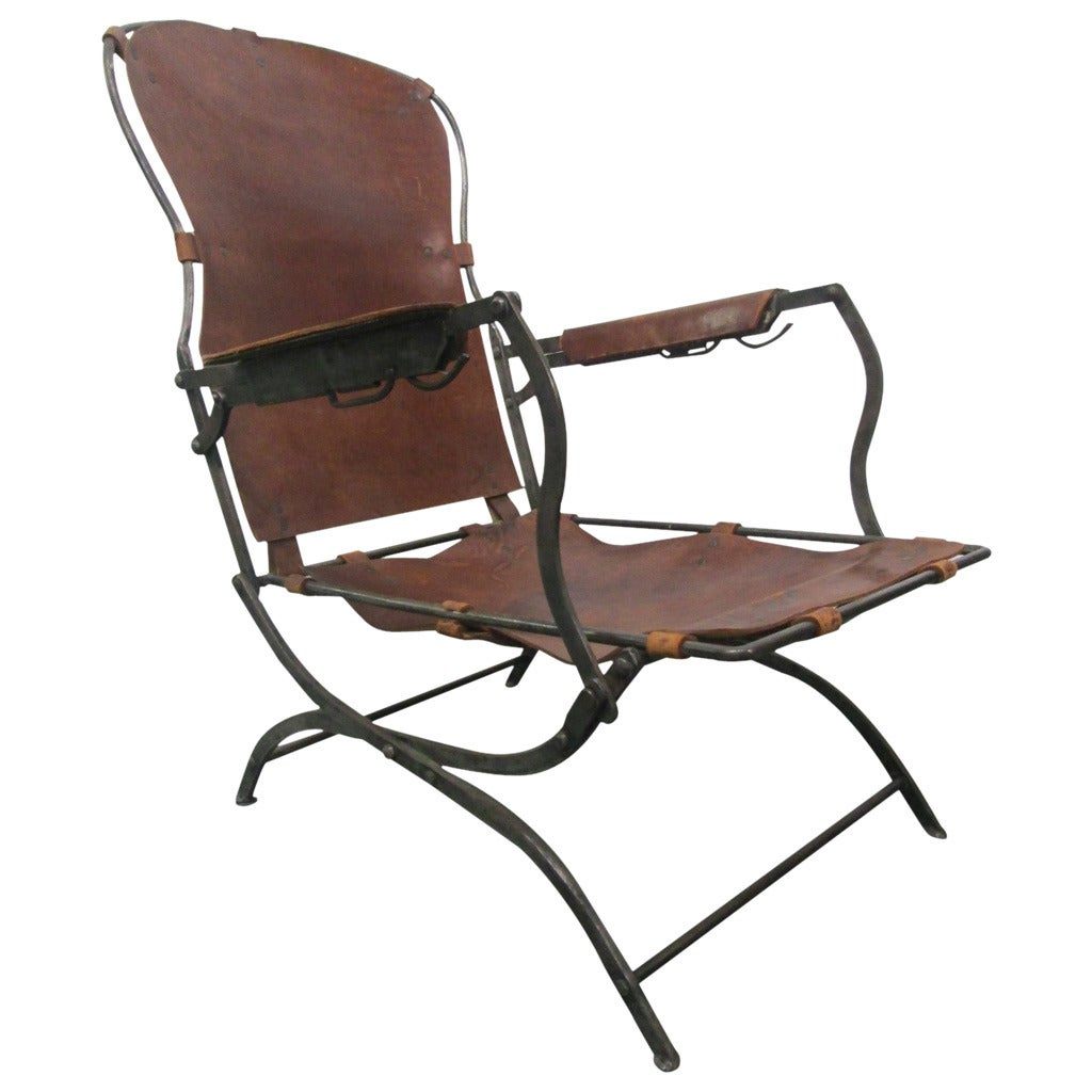 steel lounge chair backpack with attached 19th century french leather at 1stdibs