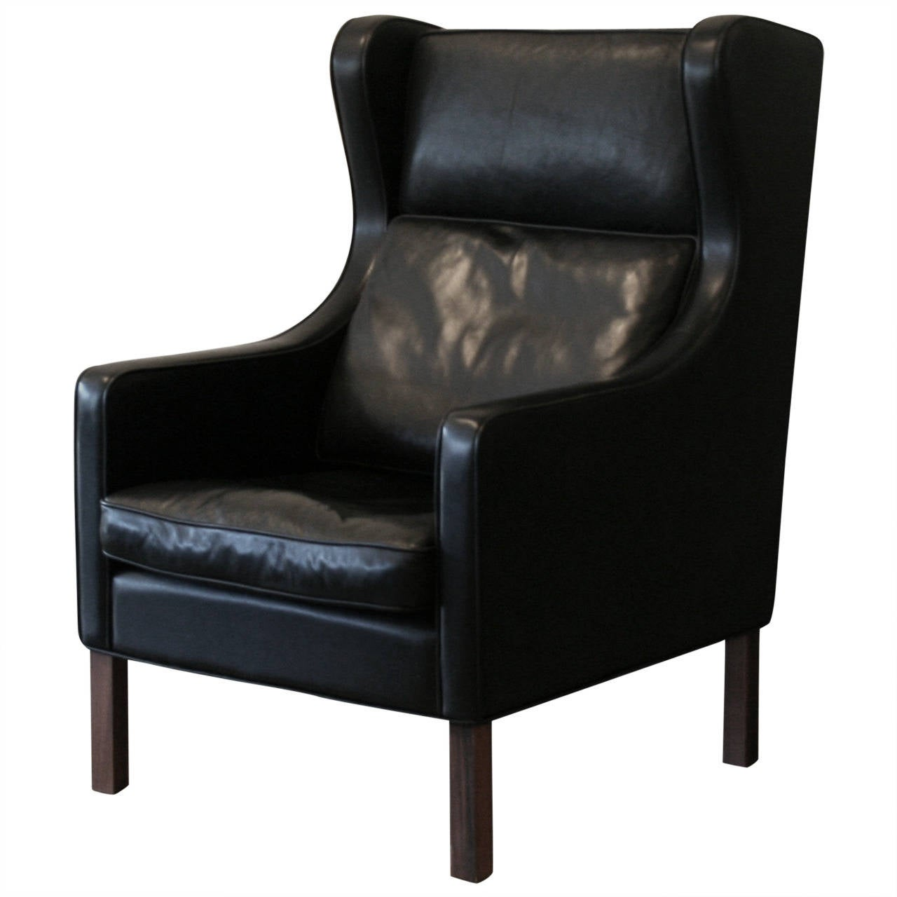 leather wingback chairs reclining patio vintage danish black chair at 1stdibs