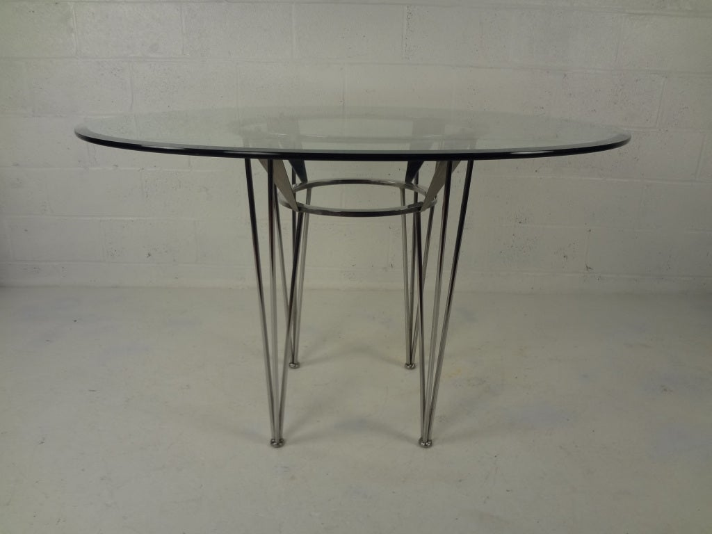 retro dining room table and chairs rocking chair cheap 70s glass chrome at 1stdibs