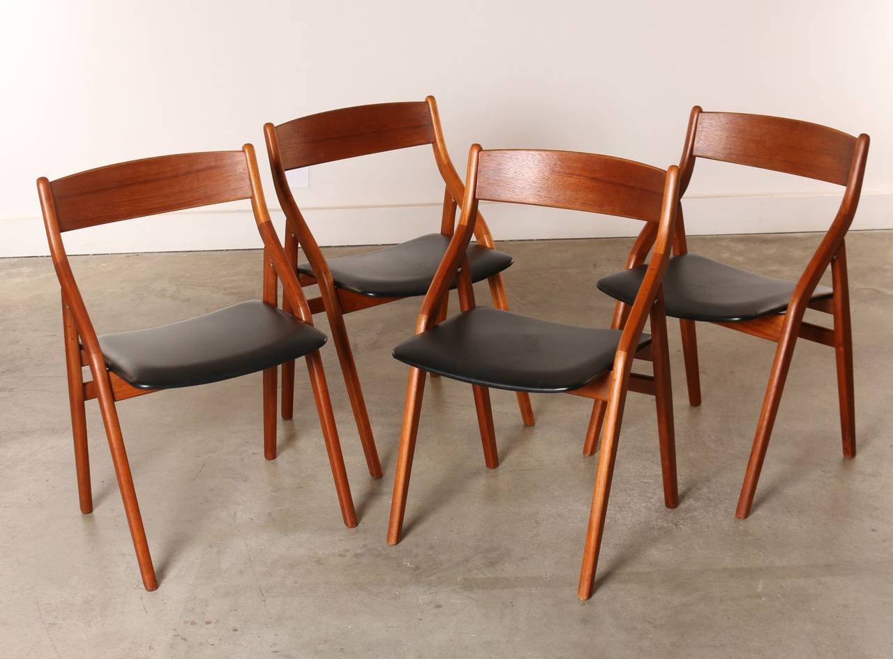 Modern Folding Chairs Set Of Four Dyrlund Danish Modern Teak Folding Dining