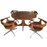 Mid Century Solid Wood Dining Table and Swivel Chairs at ...