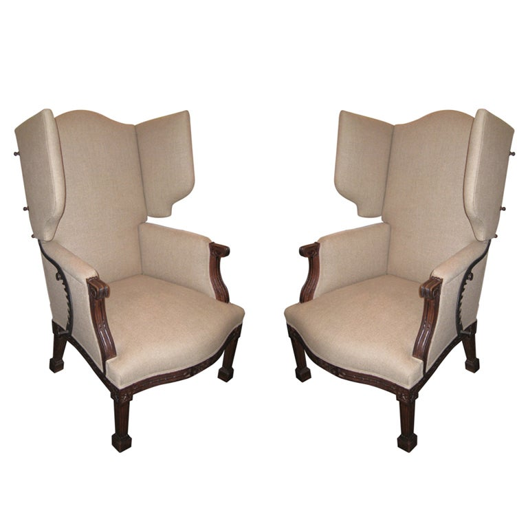 French Nineteenth Century Reclining Wing Chair at 1stdibs