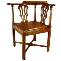 Georgian Chippendale Roundabout Corner Chair in Elmwood at ...