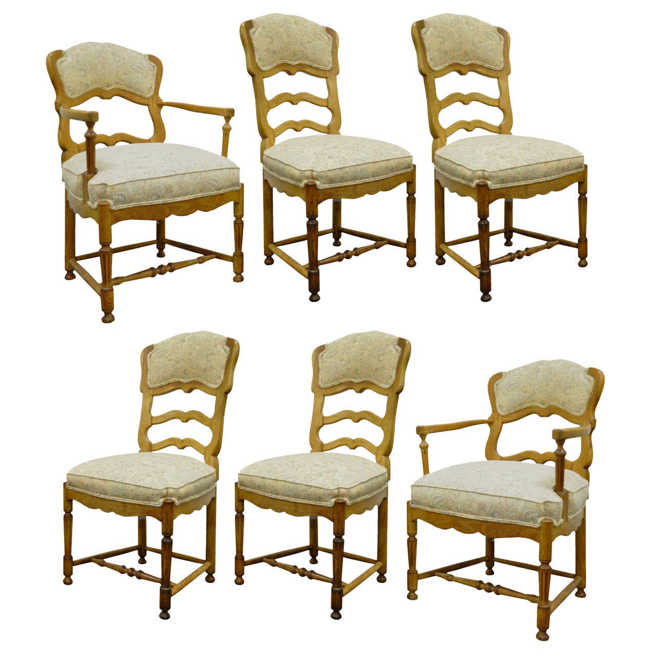 French Dining Chairs Six French Country Style Carved And Upholstered Ladder