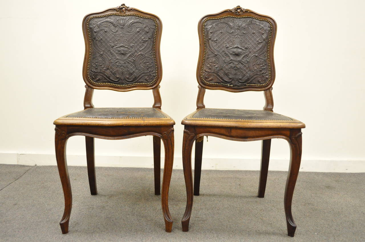 louis dining chairs chair seat upholstery fabric set of six french xv style walnut with