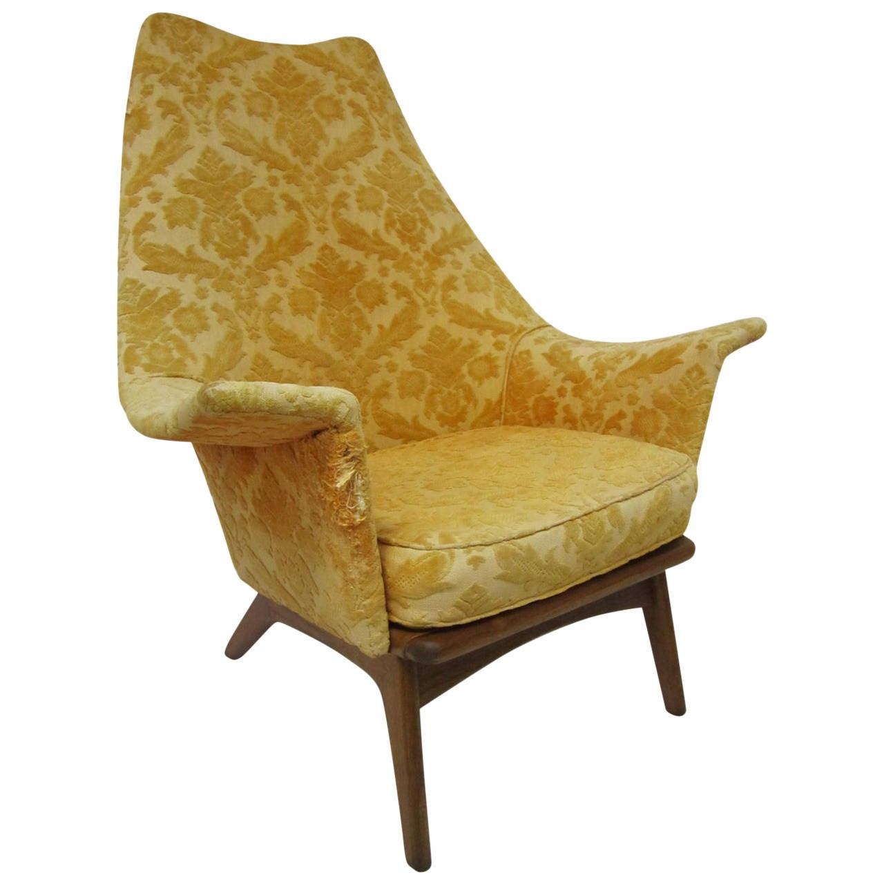 Fabulous Adrian Pearsall Wing Back Walnut Lounge Chair Mid