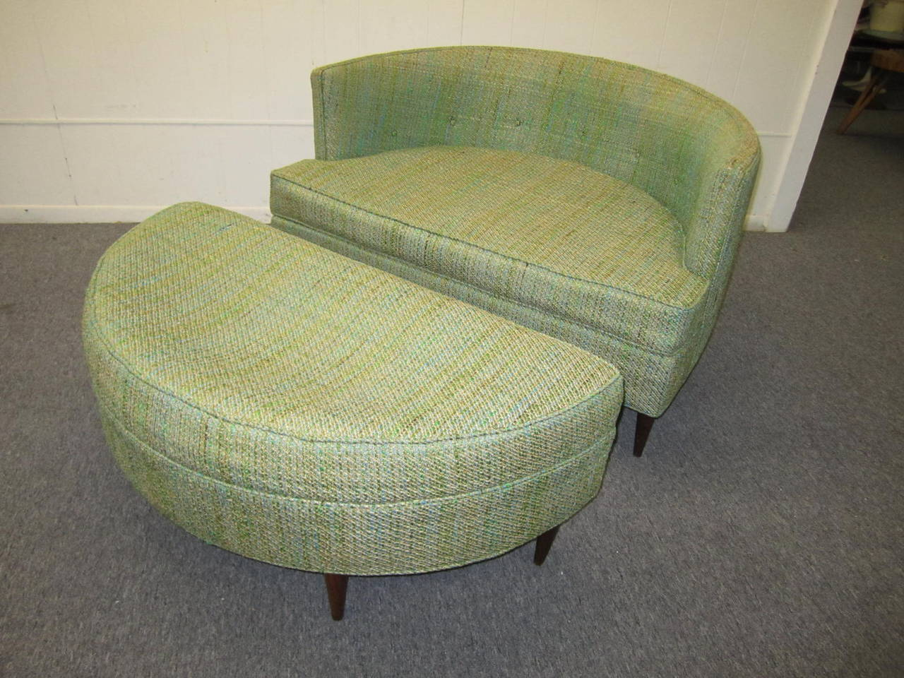 half circle chair dove hunting chairs pair of unusual wide semi milo baughman style