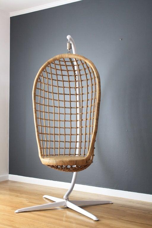 Vintage MidCentury Hanging Basket Chair at 1stdibs