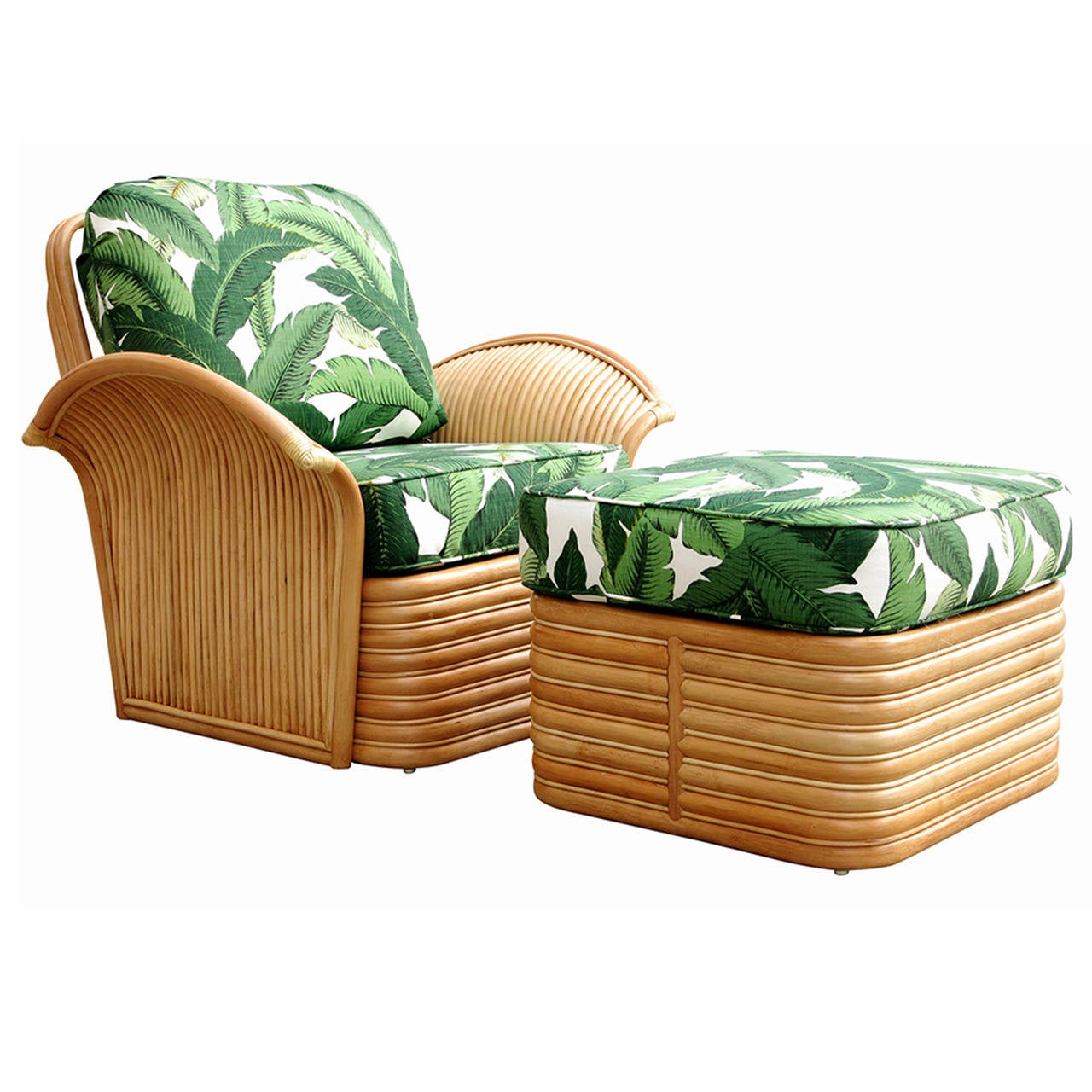 wicker chairs with ottoman underneath bouncy ball chair benefits art deco style rattan fan arm lounge at