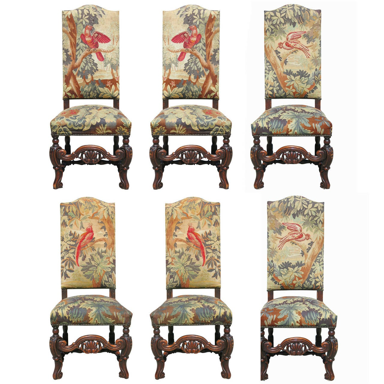 high back oak dining chairs accent chair green set of six 19th century carved tapestry