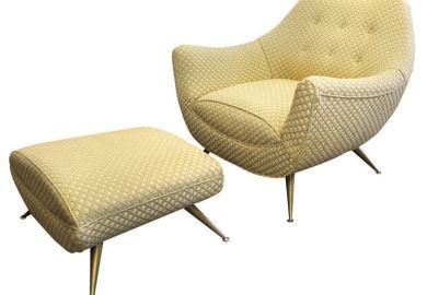 Mid Century Modern Lounge Chair Ottoman