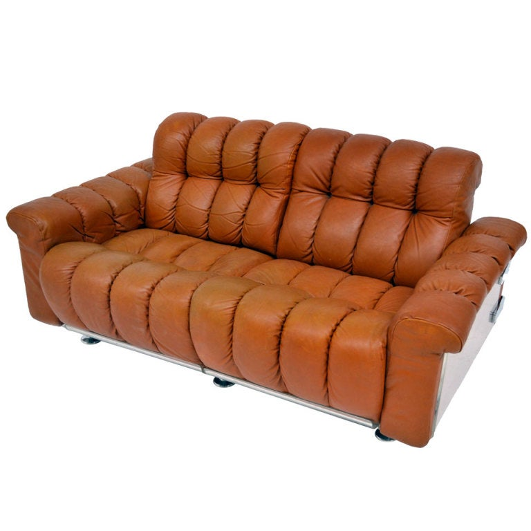 Sofa In Leather  70's At 1stdibs