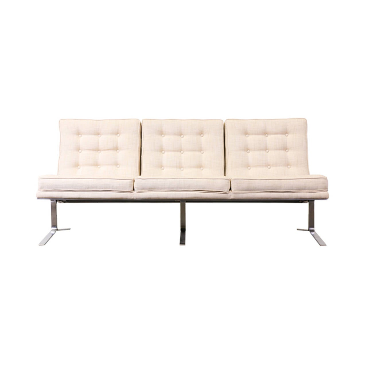 sofa with legs or without leather pet cover florence knoll style tufted w steel at 1stdibs