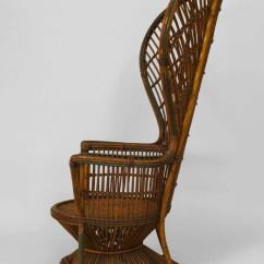 Wicker Wingback Chairs Orange Dining Australia 19th C. Natural Fan Back Throne Chair Attributed To Heywood-wakefield At 1stdibs