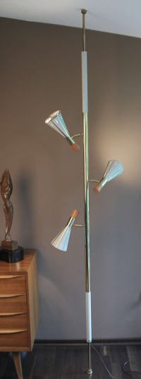 Mid Century Floor to Ceiling Pole Lamp with Three Lights
